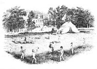 002706  An early engraving of cricket on Blackheath in the 1840s
